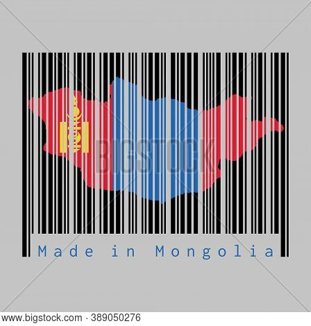 Barcode Set The Shape To Mongolia Map Outline And The Color Of Mongolia Flag On Black Barcode With G