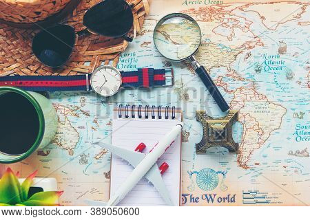 Traveler Accessories And Items Man With Tourism Backpack And Visiting For Planning Trips Travel Dest