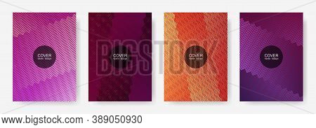 Zig Zag Lines Halftone Banner Templates Set, Gradient Stripes Texture Vector Backgrounds For   Scien