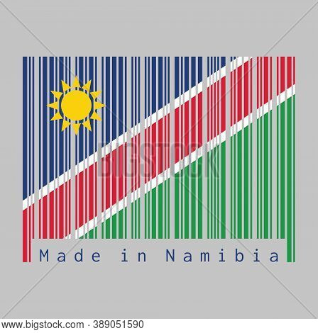 Barcode Set The Color Of Namibia Flag, A White-edged Red Diagonal. The Upper Triangle Is Blue, With
