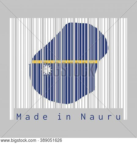 Barcode Set The Shape To Nauru Map Outline And The Color Of Nauru Flag On White Barcode With Grey Ba