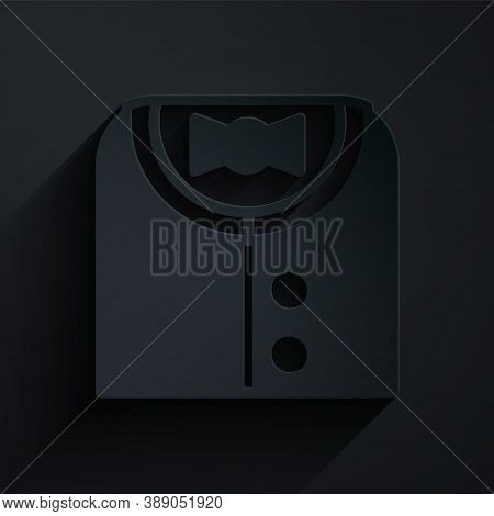 Paper Cut Suit Icon Isolated On Black Background. Tuxedo. Wedding Suits With Necktie. Paper Art Styl