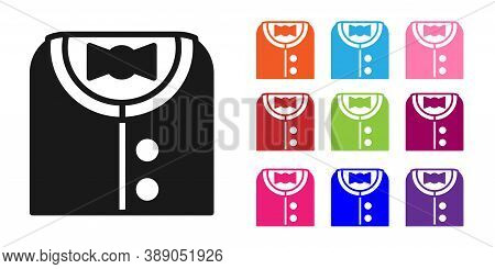 Black Suit Icon Isolated On White Background. Tuxedo. Wedding Suits With Necktie. Set Icons Colorful
