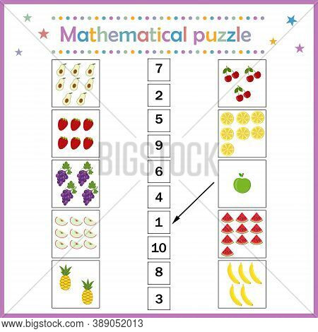 Math Puzzle For Math Fruit, For Children's Development, Color Vector Illustration Flat Style, Educat