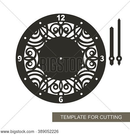 Decorative Clock With An Openwork Carved Pattern In The Center. Arabic Numerals, Hour And Minute Han
