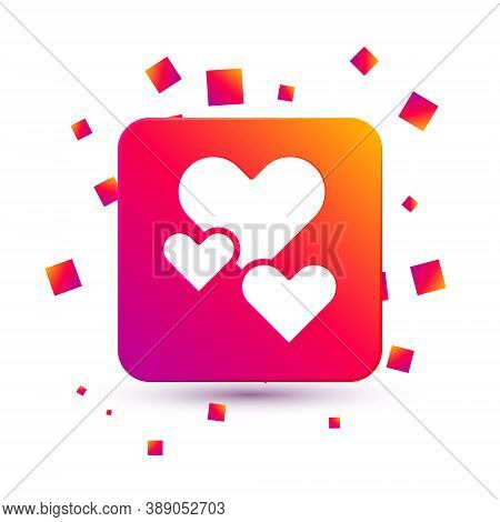 White Heart Icon Isolated On White Background. Romantic Symbol Linked, Join, Passion And Wedding. Va