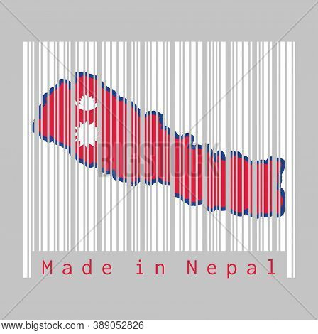 Barcode Set The Shape To Nepal Map Outline And The Color Of Nepal Flag On White Barcode With Grey Ba