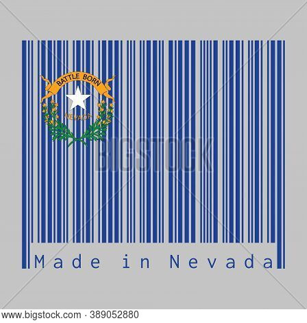 Barcode Set The Color Of Nevada Flag, Solid Cobalt Blue Field And Coats Of Arm On The Canton, Text: