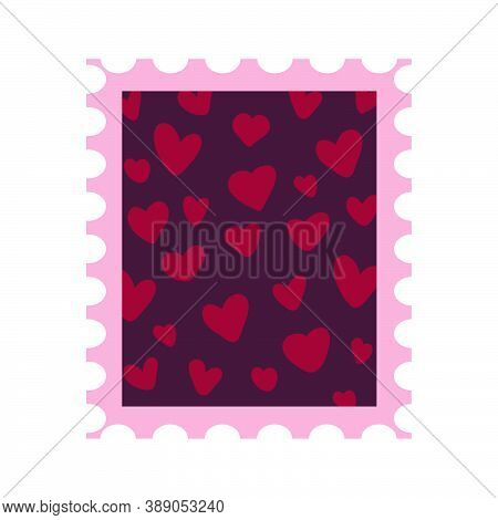 Postage Stamp With Hearts For Valentines Day. Romantic Postage Mail Mark. Vector Icon Illustration I