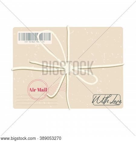 Parcel Carton Box With Bow Vector Container Illustration, Top Down View. Single Cardboard Box Pack W