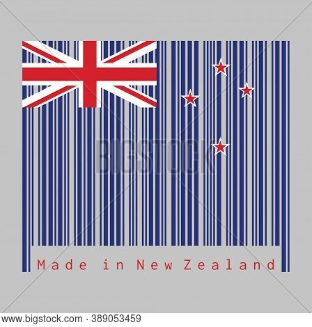 Barcode Set The Color Of New Zealand Flag, A Blue Ensign With The Southern Cross Of Four Stars Centr