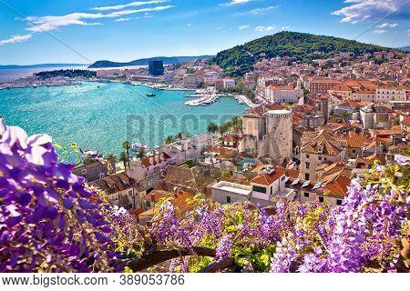 Split Waterfront And Marjan Hill Colorful Flower Aerial View, Dalmatia Region Of  Croatia