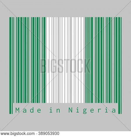 Barcode Set The Color Of Nigeria Flag, It Is A Vertical Bicolor Triband Of Green, White And Green. T