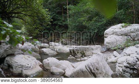 White Rocks In Sochi. Sochi. White Rocks Canyon. Summer. Beautiful View Of Waterfall Landscape. Smal