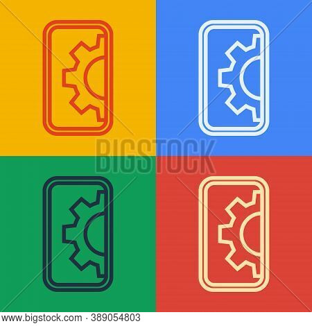 Pop Art Line Software, Web Development, Programming Concept Icon Isolated On Color Background. Progr