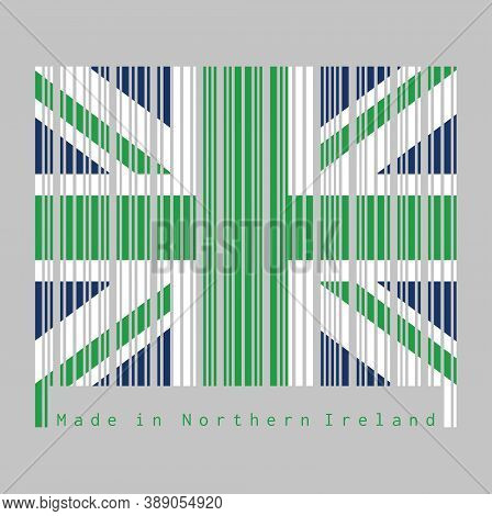 Barcode Set The Color Of Northern Ireland Flag, Green Union Flag. Text: Made In Northern Ireland Con