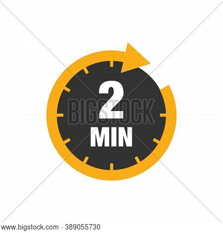 Two Minutes Icon Isolated On White Background. Cooking Time Concept. 2 Minutes Waiting Time Icon. Ve