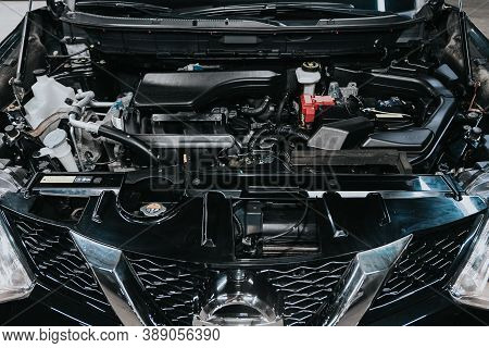 Novosibirsk, Russia - October 08, 2020: Nissan X-trail, Close Up Of A Clean Motor Block. Internal Co