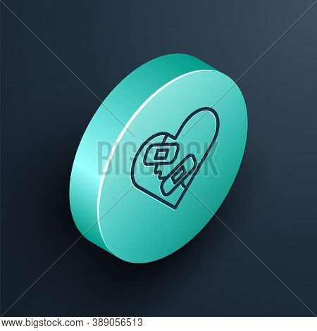 Isometric Line Healed Broken Heart Or Divorce Icon Isolated On Black Background. Shattered And Patch