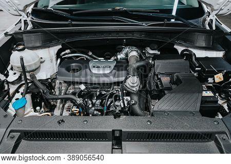 Novosibirsk, Russia - October 08, 2020: Hyundai Tucson, Close Up Of A Clean Motor Block. Internal Co