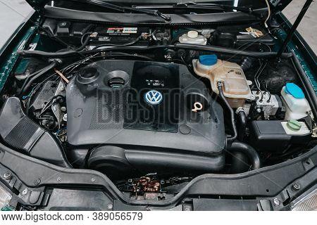 Novosibirsk, Russia - October 08, 2020: Volkswagen Passat, Close Up Of A Clean Motor Block. Internal