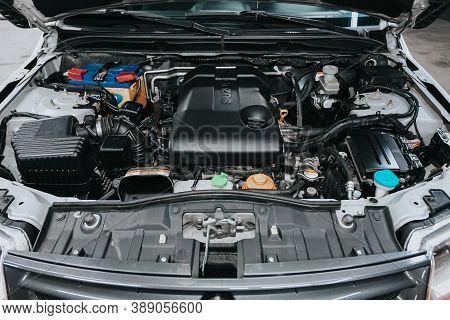Novosibirsk, Russia - October 08, 2020: Suzuki Grand Vitara, Close Up Of A Clean Motor Block. Intern