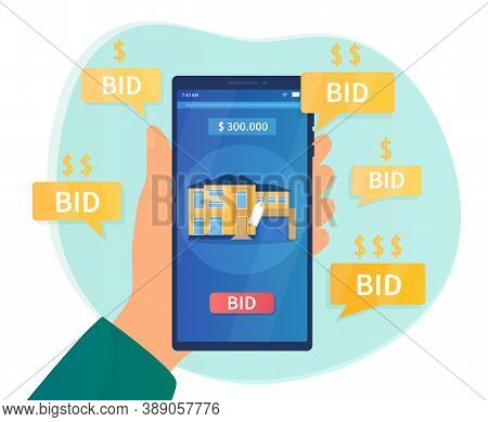 Online Auction Concept. Hand Holding A Smartphone On The Screen Which Shows The Confiscated House, P
