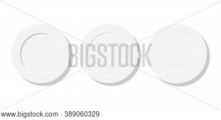 Empty White Plates Of Different Sizes Icon Set Isolated On White Background. Flat Design Top View Cl