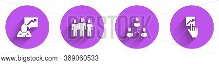 Set Team Leader, Users Group, Project Team Base And Icon With Long Shadow. Vector