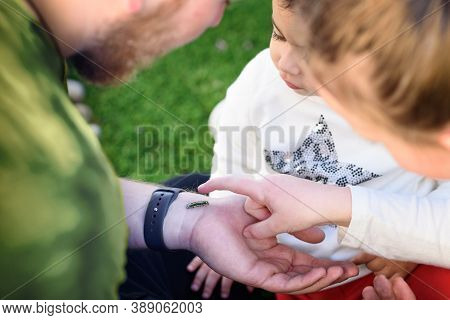 The Father Shows Caterpillar To Daughters. Bearded Dad Holding Caterpillar Outdoor. Man Teacher With