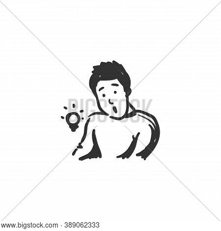 Curiosity Feeling Icon. Curious Man. Outline Sketch Drawing. Human Emotions And Feelings Concept. Wo