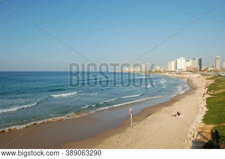 Sandy Beach, Blue Mediterranean Sea, City Landscape, Bright Sunny Day,