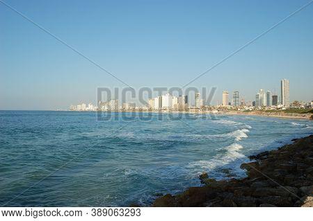 Rocky Coast, Blue Sea, Urban Landscape, Bright Sunny Day, Sea Covered With Waves