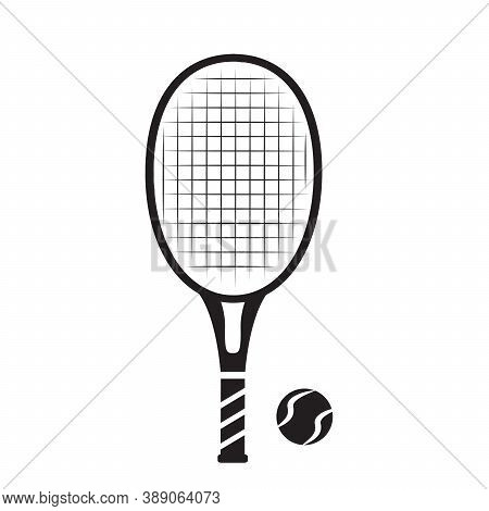 Tennis Balls And Racquet.vector Isolated On White Background.