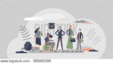 Hr Diversity As Various Recruitment Candidates Queue Tiny Persons Concept. Human Resources Hiring Di