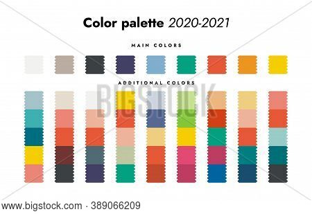 Color Palette. Fall-winter 2020 Fashion Trendy Colorful Swatch Forecast, Main And Additional Color S