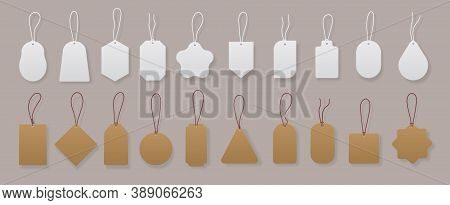 Price Tags. Realistic Blank And Craft Labels For Gift Cards, Luggage And Shop Discounts. Vector Imag