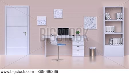 Cabinet Interior. Realistic Home Office Mockup With Work Table, Computer, Office Stationery And Home