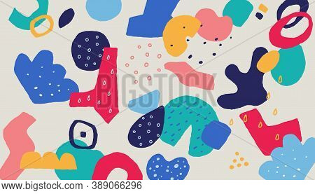 Scribble Collage Background. Abstract Trendy Pattern For Textile Print With Hand Drawn Memphis Eleme