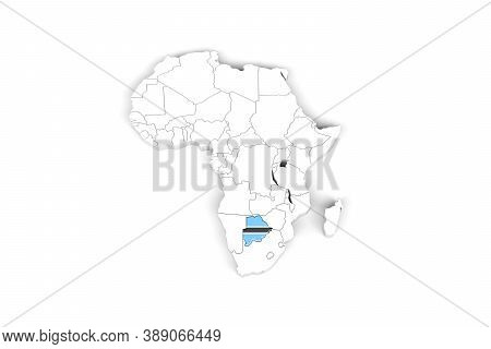 Africa 3d Map With Borders Marked - Botswana Area Marked With Botswana Flag - Isolated On White Back