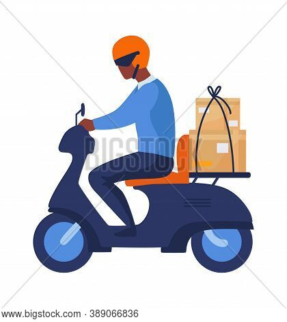 Postman Riding Motorbike. Cartoon Man Rides Scooter In Helmet With Parcel, Motorcyclist In Profile.