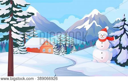 Winter Snowman Landscape. Cute House In Snowy Mountain Valley. Cartoon Background With Snow Drifts A