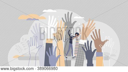 Social Diversity As Multicultural And Race Raised Hands Tiny Person Concept. Different Skin Color, V
