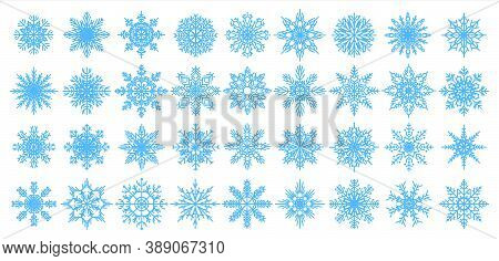Blue Snowflakes Icons. Christmas And New Year Decorative Elements For Banners, Postcards And Greetin