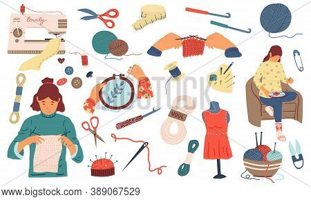 Needlework. Cute Women Sew, Knit And Embroidery, Handmade Collection. Needlecraft Tools And Instrume
