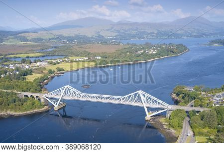 Connel Bridge Steel Cantilever Structure Ocean Sea Road Crossing Over Loch Etive In Argyll And Bute