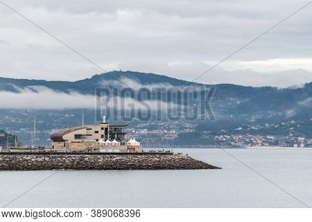 Panorama View Of Sanxenxo And Its Yacht Club At The End Of A Cloudy Summer Day In The Rias Baixas In