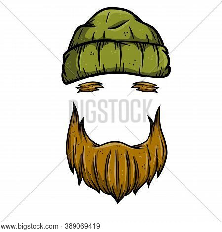 Fashionable Mens Haircut. Element Of Head And Face Hipster. Brown Hair Guy. Hair And Beard. Barbersh