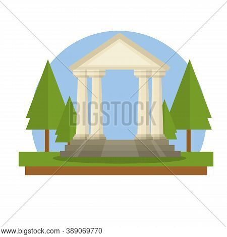 Ancient Greek And Roman Building With Stairs, White Columns And Pediment