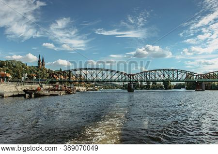 Postcard View Of Vysehrad Standing On Massive Rock Looming Over The Vltava River,prague,czech Republ